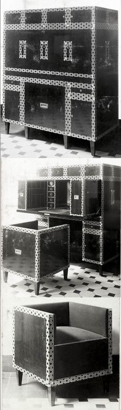 JOSEF HOFFMANN modular writing cabinet and chair. Wiener Werkstätte showroom in Vienna, 1905. Later installed in the Stoclet Palace's Hall.