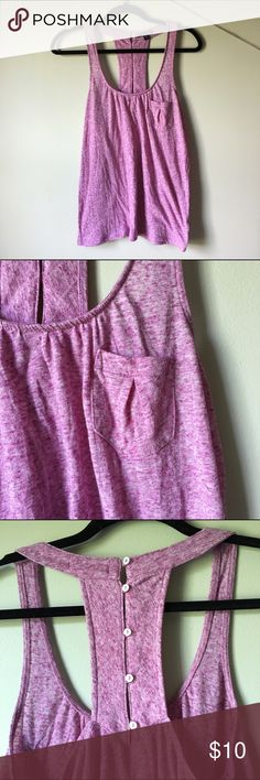 Purple tank top from American Eagle Purple tank top with front pocket and buttons on the back Tops Tank Tops