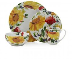 Kim Parker's Sunflowers and Currants dinnerware for Gourmet Basics by Mikasa.