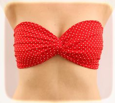 981bdd44009 Spandex Bandeau Bikini Top Swim Swimsuit Polka Dot Twisted Swimwear Bandeau