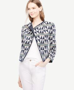 Triangle Striped Jacquard Jacket | Ann Taylor