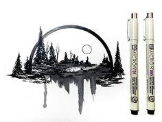 "Art by Derek Myers: ""More ink brush experimenting! . . . #drawing #dailydrawings #illustration #ink #inkdrawing #landscape #geometry #artofdrawingg #iblackwork #art_spotlight #artshelp #art #artoftheday #artistic #artgallery #sketch #sketchbook #sketch_daily #draw #pen #dailyart #dailysketch #blackwork #art_perspective #artistshouts #artmg03 #worldofpencils #supportartists"""