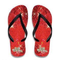 These Wizard of Oz flip flops are a fun salute to Dorothy's famous Ruby Slippers!