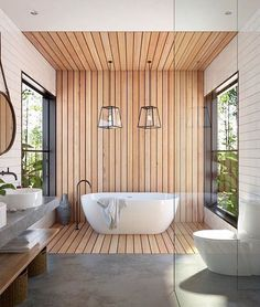 "9,342 Likes, 41 Comments - A Designer's Mind (@adesignersmind) on Instagram: ""I love the way the timber wraps up from the floor onto the ceiling! And those pendants!! #bathroom…"""
