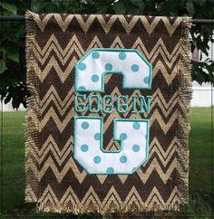 Burlap garden flag with split monogram