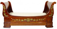Mahogany Empire style sleigh shaped lit en bateau with floral ormolu mounts, high x long x wide ( P. on May 2007 French Furniture, Luxury Furniture, Antique Furniture, Napoleon French, French Empire, Antique Beds, Antique Art, Empire Furniture, Reproduction Furniture