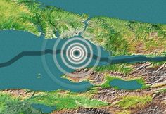 An artistic rendering of a map showing the North Anatolian Fault (blue line) and the site of a possible earthquake (white circles) that could potentially hit Turkey.