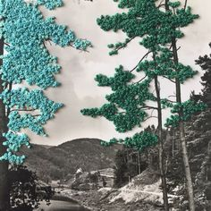 Francesca Colussi Cramer is a textile artist and designer. She tells stories and draws with thread on vintage photos and postcards. Abstract Embroidery, Paper Embroidery, Textile Fiber Art, Textile Artists, Collage Drawing, Collage Art, Fabric Painting, Fabric Art, Photoshop