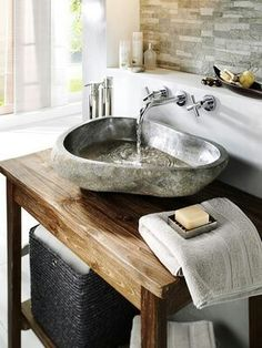 Kitchen Faucet Ideas Kitchen faucet ideas pictures for your modern kitchen, stainless steel pull down. Kitchen sink and faucets - with black bronze or silver colors Bad Inspiration, Bathroom Inspiration, Luxury Master Bathrooms, Master Baths, Tadelakt, Stone Sink, Kitchen Sink Faucets, Bathroom Interior Design, Small Bathroom