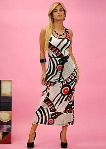 Abstract Tank Maxi Dress (Red/Black) $19.99