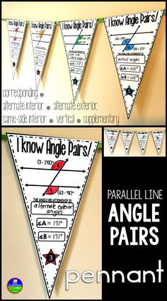 Angle relationships include: corresponding, alternate interior, vertical, same-side interior, alternate exterior and supplementary.
