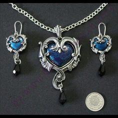 "Set ""Affaire du Coeur"" Charmed, Pendant Necklace, Bracelets, Jewelry, Jewlery, Bijoux, Schmuck, Jewerly, Bracelet"
