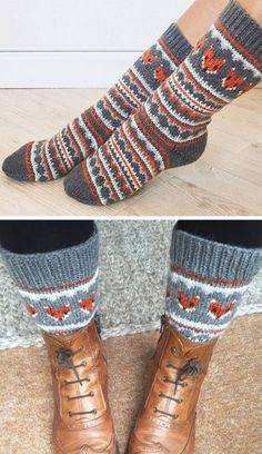 Free Knitting Pattern for Fox Isle Socks - Stranded socks with fair isle fox fac. Free Knitting Pattern for Fox Isle Socks - Stranded socks with fair isle fox faces and other patterns. S - teen; Crochet Mittens Free Pattern, Fair Isle Knitting Patterns, Crochet Slippers, Knitting Patterns Free, Crochet Patterns, Knitting Ideas, Fair Isle Pattern, Knitted Socks Free Pattern, Afghan Patterns