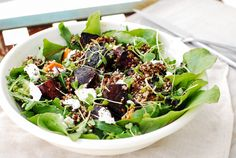 Roast beetroot and quinoa salad. Loaded with amazing real whole food. Paleo, clean eating, gluten free.