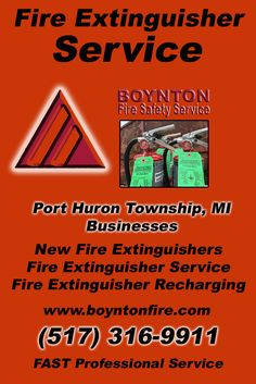 Fire Extinguisher Service Port Huron Charter Township, MI (517) 316-9911Local Michigan Businesses Discover the Complete Fire Protection Source.  We're Boynton Fire Safety Service.. Call us today!