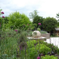 Andrea Newill offers a creative and practical garden design service throughout Berkshire, Hampshire, Oxfordshire, Wiltshire, Reading and Newbury. Sphere Water Feature, Aluminum Pergola, Contemporary Garden Design, Cottage Garden Design, Sloped Garden, Water Features In The Garden, Water Garden, Service Design, Planting