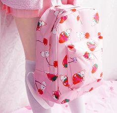 Korean cute cartoon strawberry printing backpack from Asian Cute {Kawaii…