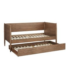 Twin Over Twin Molly Mid Century Wood Daybed and Trundle Walnut Brown - Inspire Q Wood Daybed, Upholstered Daybed, Mid Century Bed, Twin Daybed With Trundle, Daybed Design, Local Furniture Stores, Dresser Plans, Natural Bedding, Bedding Sets Online