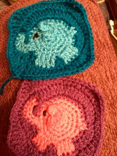 Elephants in a granny square. More