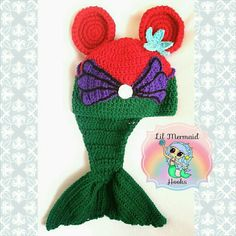 Ariel inspired Minnie Mouse crochet beanie