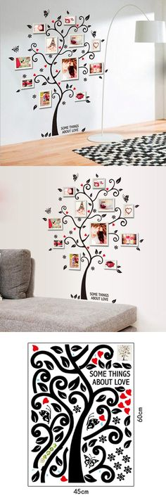 [Visit to Buy] Chic Black Family Photo Frame Tree Butterfly Flower Heart Mural Wall Sticker Home Decor Room Decals #Advertisement