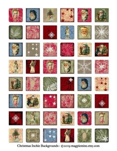 Christmas Inchies Digital Collage Sheet  Tiny by MagpieMine, $4.00