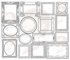 Decorative Doodle Frames Borders Digital Clip Art Cute Teacher Scrapbook Supplies Label Tag Drawn Sketches Photographer Picture Frames 10004 #Doodle #Frames #Borders