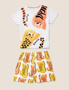 Cotton Animal Print Short Pyjama Set (1-7 Yrs) | M&S Suit Shop, Best Jeans, Pajama Shorts, Printed Shorts, Retro, Pajama Set, Kids Outfits, Baby Outfits, Lounge Wear