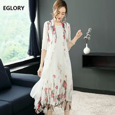 Cheap Dresses, Buy Directly from China Suppliers:100% Pure Silk Dress Spring Summer 2018 Luxurious Women Beautiful Flower Print Elegant Party 2 Piece Dress Vestido Verano Mujer
