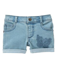 Blue Butterfly Boyfriend Denim Shorts - Infant & Toddler