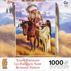 "The Farewell is part of the Native American portrait 1000 piece jigsaw puzzle series by artist Alfredo Rodriguez. Puzzle measures 20"" x 27"" when complete."