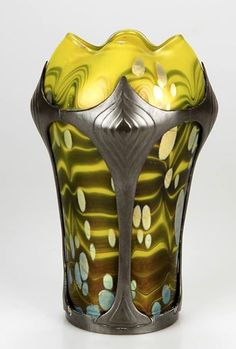"A Loetz ""Cytisus"" decor glass vase with pewter mount by Van Hauten, circa 1902."