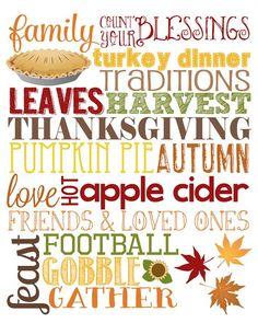 November Word Art  #thanksgiving #football #family #traditions