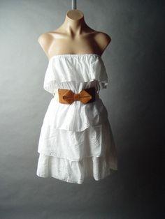 White eyelet strapless summer dress