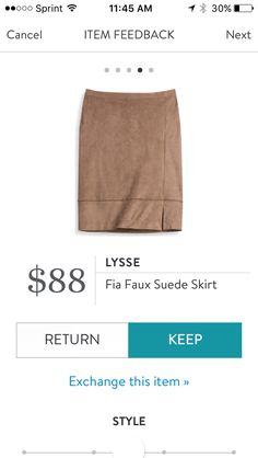 Stretchy faux suede pencil skirt. This is super soft and fits well. Received in Fix #41. KEPT. Price $88, with keep all discount $66.