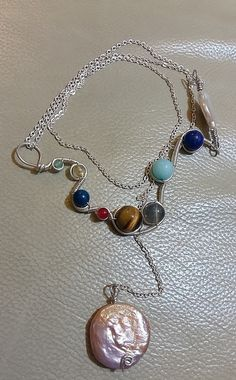 Wire wrapped Sterling Silver Necklace Solar by HandcraftByBijood