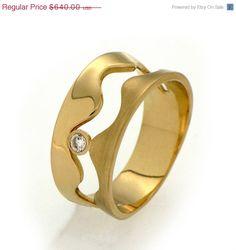 HOLIDAY SALE  WAVE 14k Gold Diamond Ring Diamond by arosha on Etsy     Amazing
