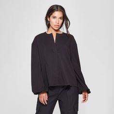 e7bb7fb46 Women's Long Sleeve Collared Button-Down Blouse - Prologue Black XL ...