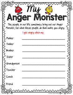 My anger monster, how anger looks and feels, anger management, sel; angry t Social Work Activities, Counseling Activities, Speech Therapy Activities, Anger Management Activities For Kids, Coping Skills, Social Skills, Counseling Techniques, Play Therapy Techniques, Therapy Worksheets