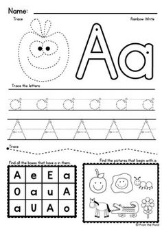 Letters and the alphabet worksheets for preschool and kindergarten. Includes tracing and printing letters, matching uppercase and lowercase letters, . Preschool Literacy, Preschool Letters, Homeschool Kindergarten, Kindergarten Worksheets, Literacy Activities, Teaching The Alphabet, Learning Letters, Sight Words, Alphabet Worksheets