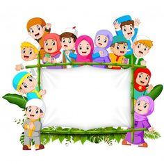 A family are holding jungle woodeen banner Vector Image Kids Background, Cartoon Background, Background Banner, Ramadan Photos, Activities For Kids, Crafts For Kids, Frame Border Design, Islamic Cartoon, Islam For Kids