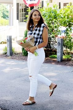 White Jeans, Jack Rogers & Gingham - The Coastal Confidence