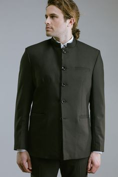 Mod Suits, Chinese Collar, The Old Days, Mod Fashion, Wedding Suits, Dress Codes, Button Up, Chef Jackets, Suit Jacket