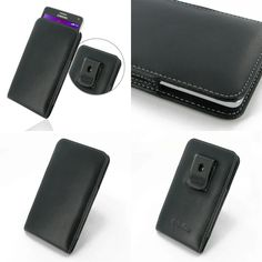 PDair Leather Case for Samsung Galaxy Note 4 SM-N910T - Vertical Pouch Type Belt Clip Included (Black)