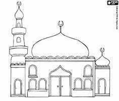 Een moskee met de koepels en de minaret kleurplaat
