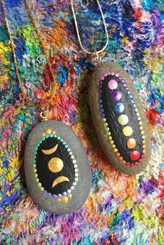 Chakra and triple moon rocks Chakra Painting, Chakra Art, Moon Painting, Dot Art Painting, Mandala Painting, Pebble Painting, Pebble Art, Mandala Art, Mandala Painted Rocks