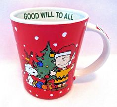 Coffee Cup Mug Peanuts Christmas Good Will To All 15 oz New