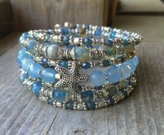 Sandy Ocean Starfish Multi Strand Memory Wire Bracelet With Starfish Charms