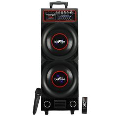 """beFree Sound 10"""" Double Subwoofer Bluetooth Portable Speaker 800W with USB/SD FM Radio"""