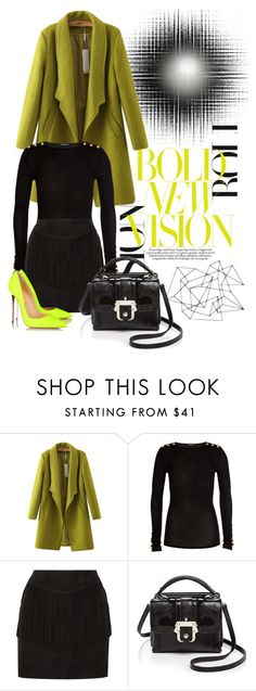 """""""Bold New Vision"""" by cherieaustin ❤ liked on Polyvore featuring Chicnova Fashion, Balmain, W118 by Walter Baker, Paula Cademartori, Christian Louboutin, women's clothing, women, female, woman and misses"""